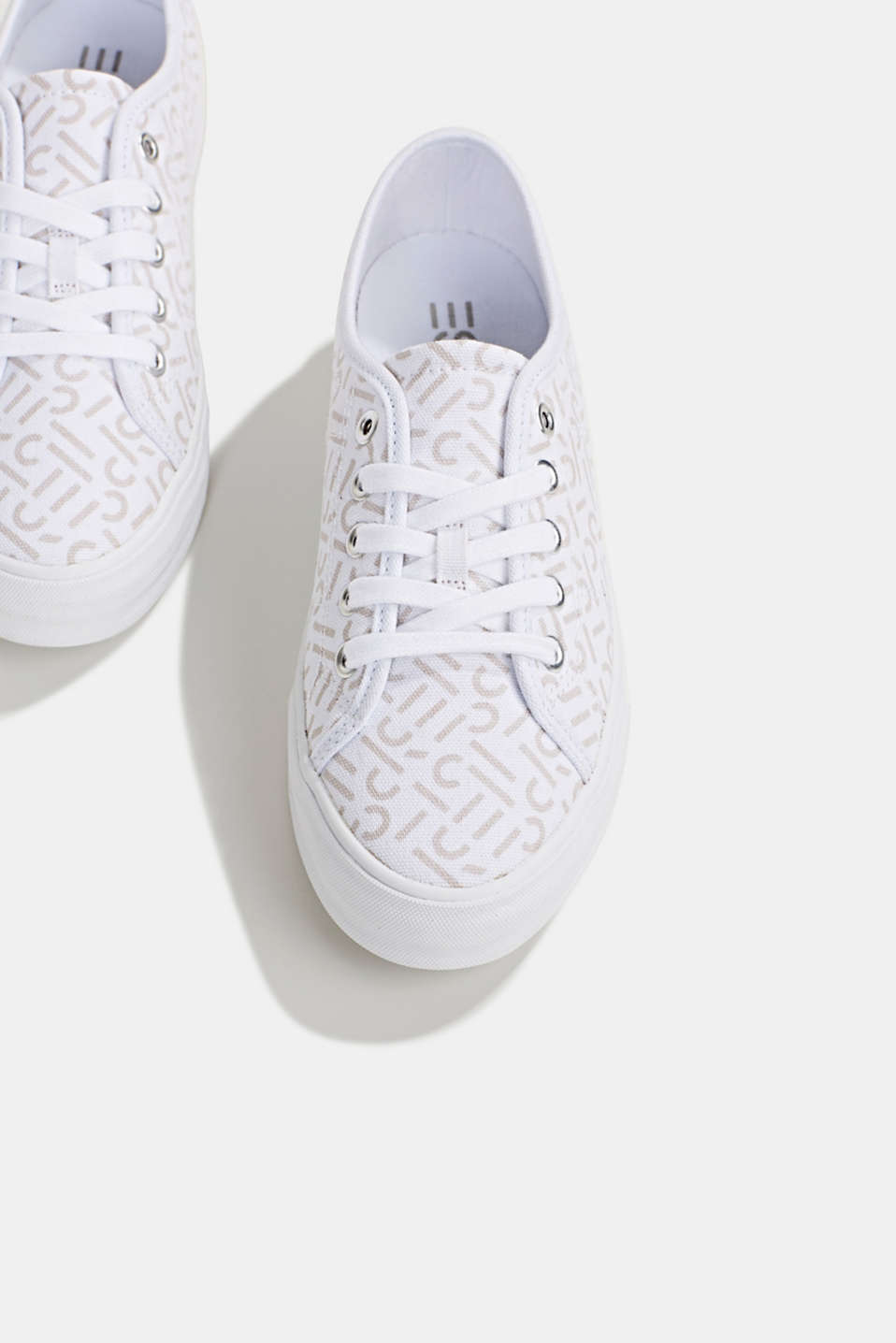 Trainers with a logo print, WHITE, detail image number 1