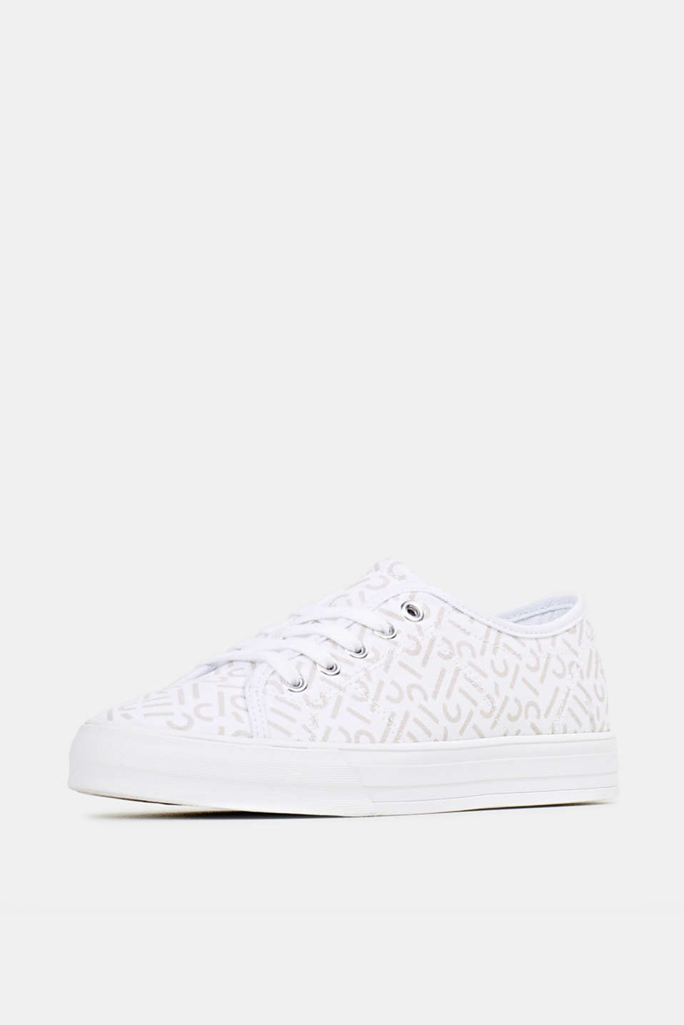 Trainers with a logo print, WHITE, detail image number 2