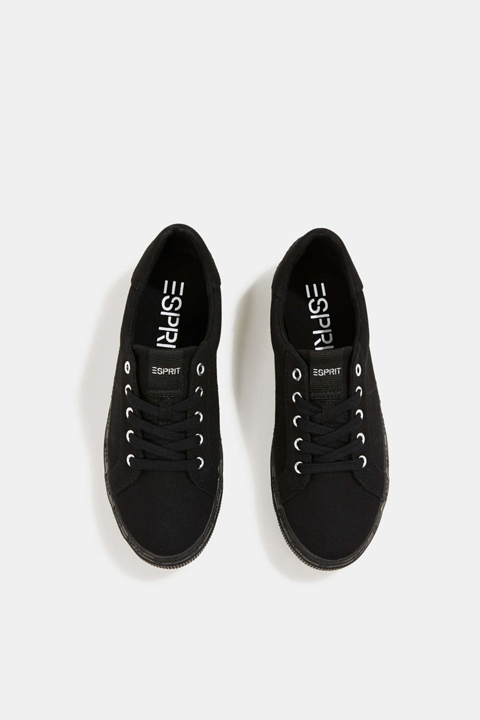 Canvas trainers with a logo sole, BLACK, detail image number 1