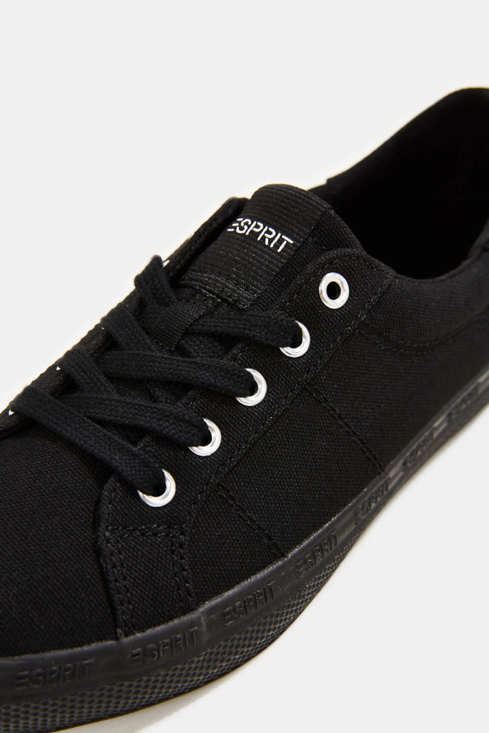 Canvas trainers with a logo sole, BLACK, detail image number 4