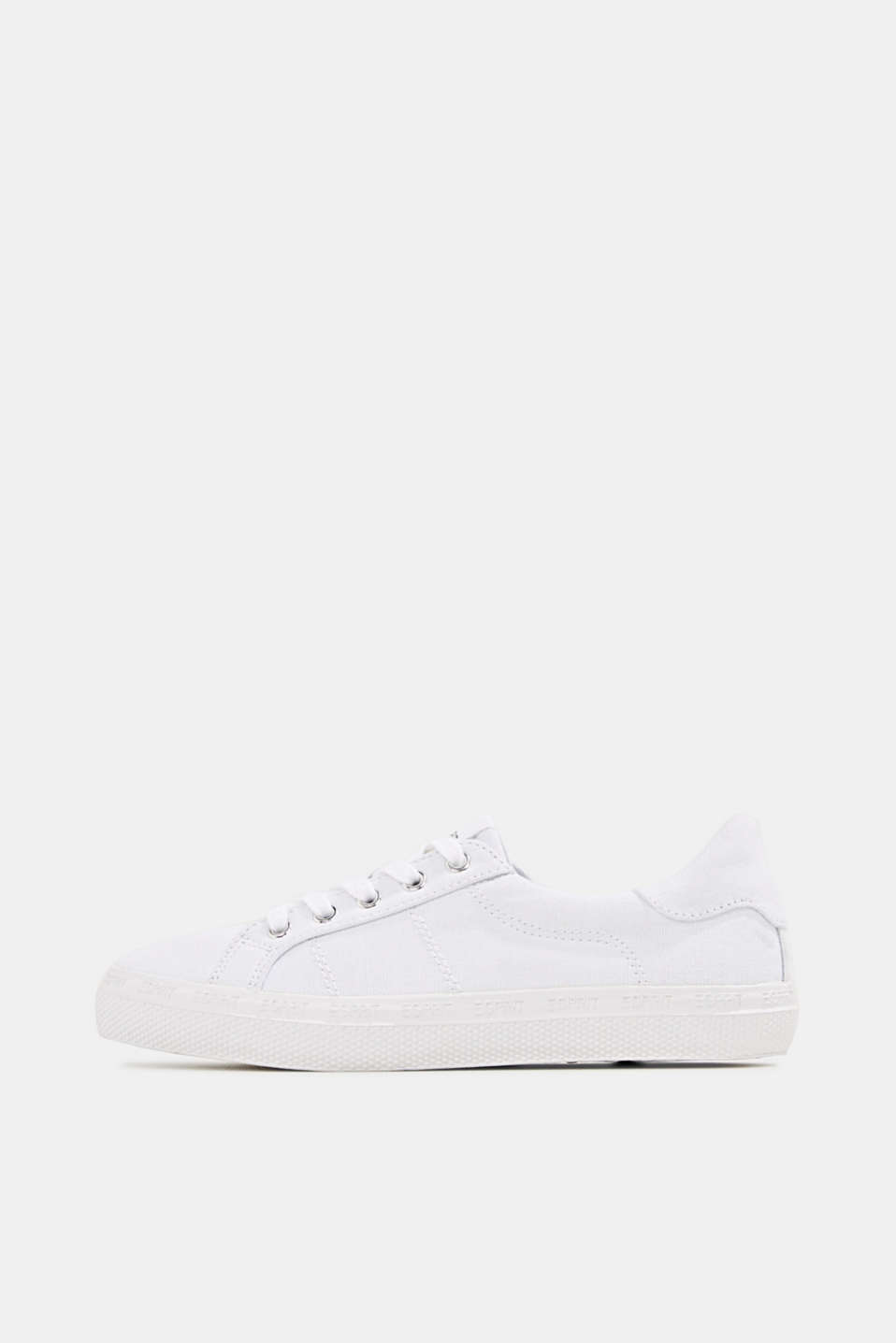 Canvas trainers with a logo sole, WHITE, detail image number 0
