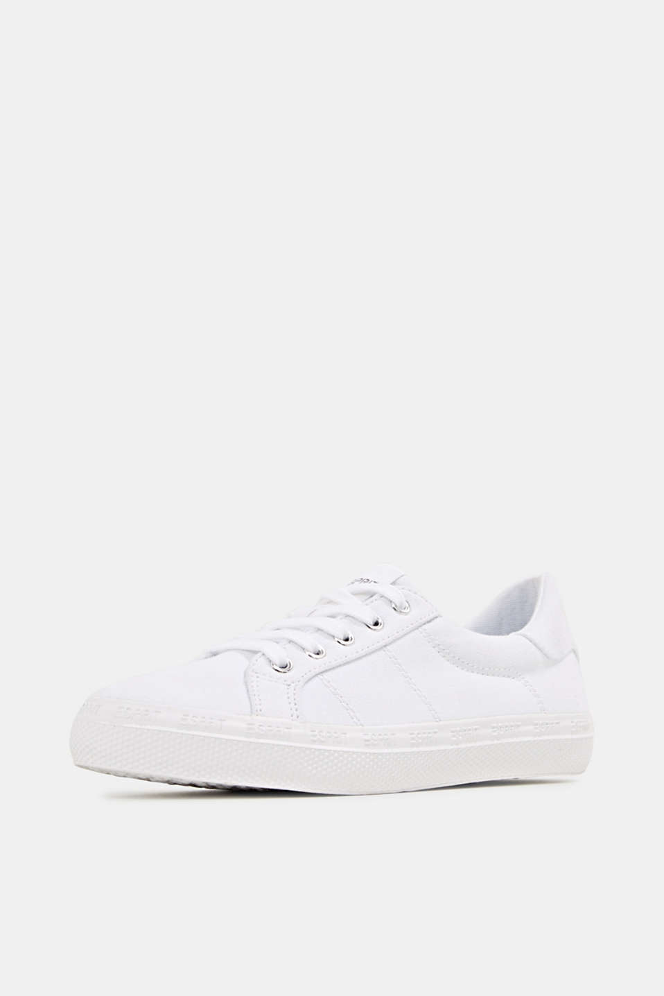 Canvas trainers with a logo sole, WHITE, detail image number 2