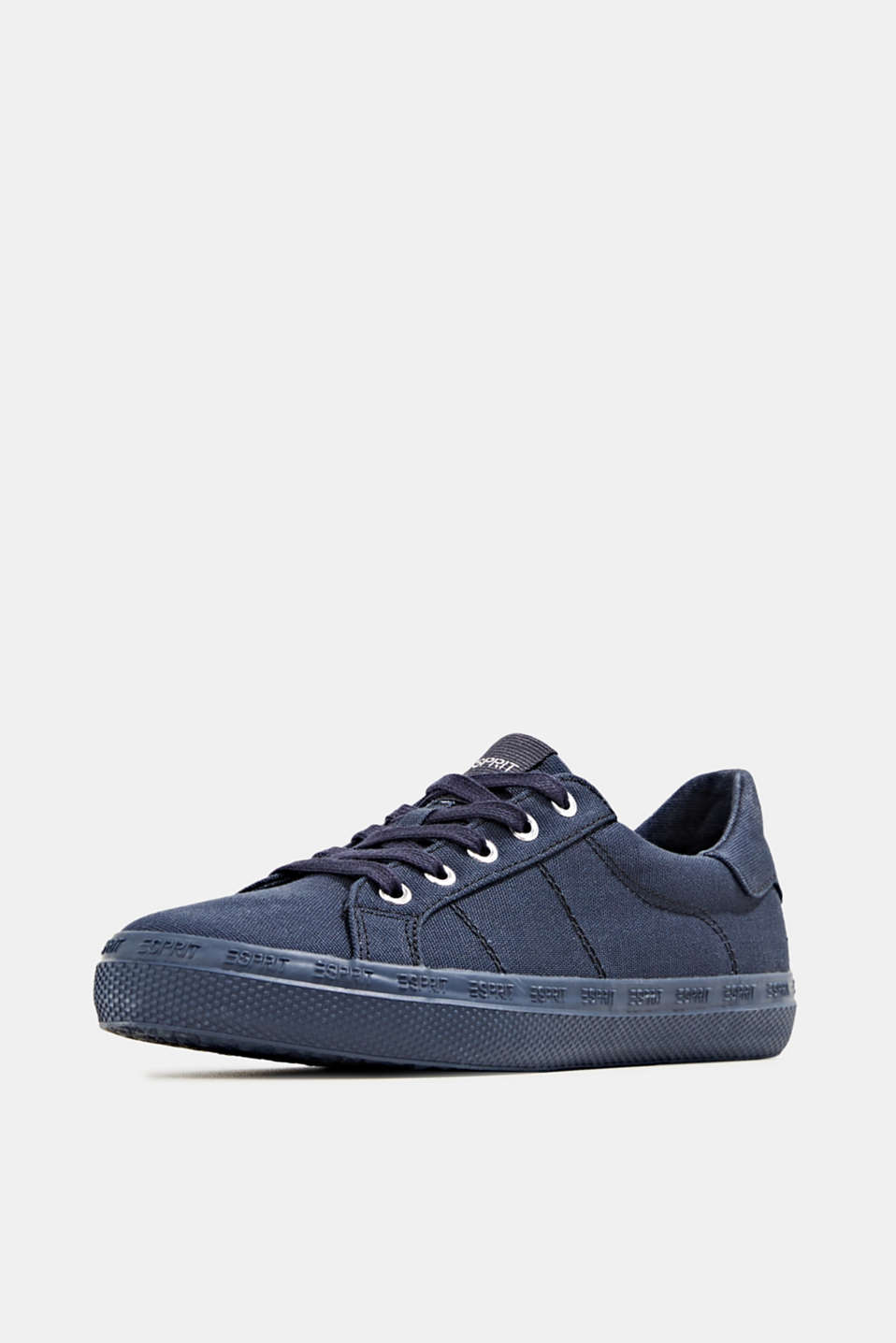 Canvas trainers with a logo sole, NAVY, detail image number 2