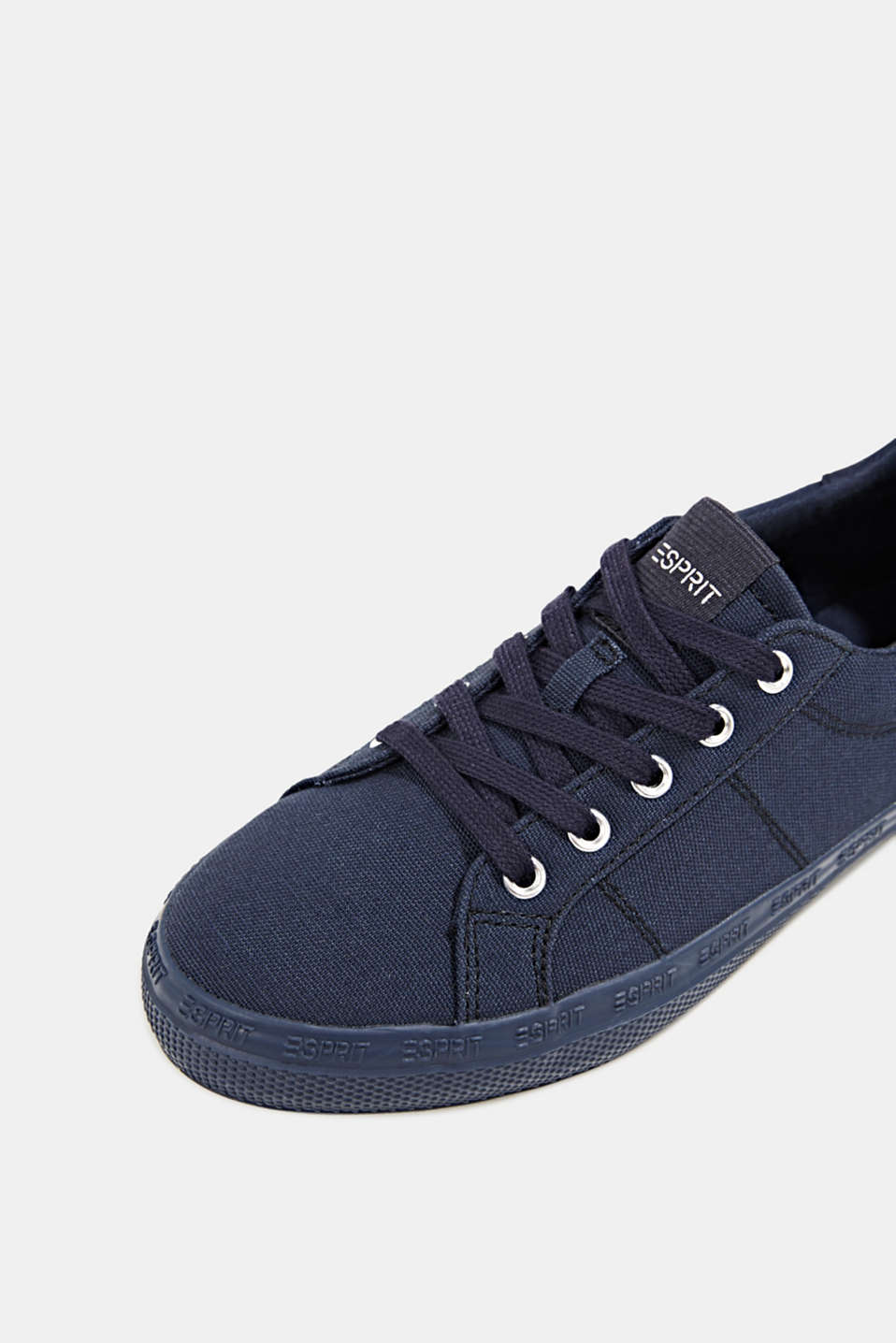 Canvas trainers with a logo sole, NAVY, detail image number 4