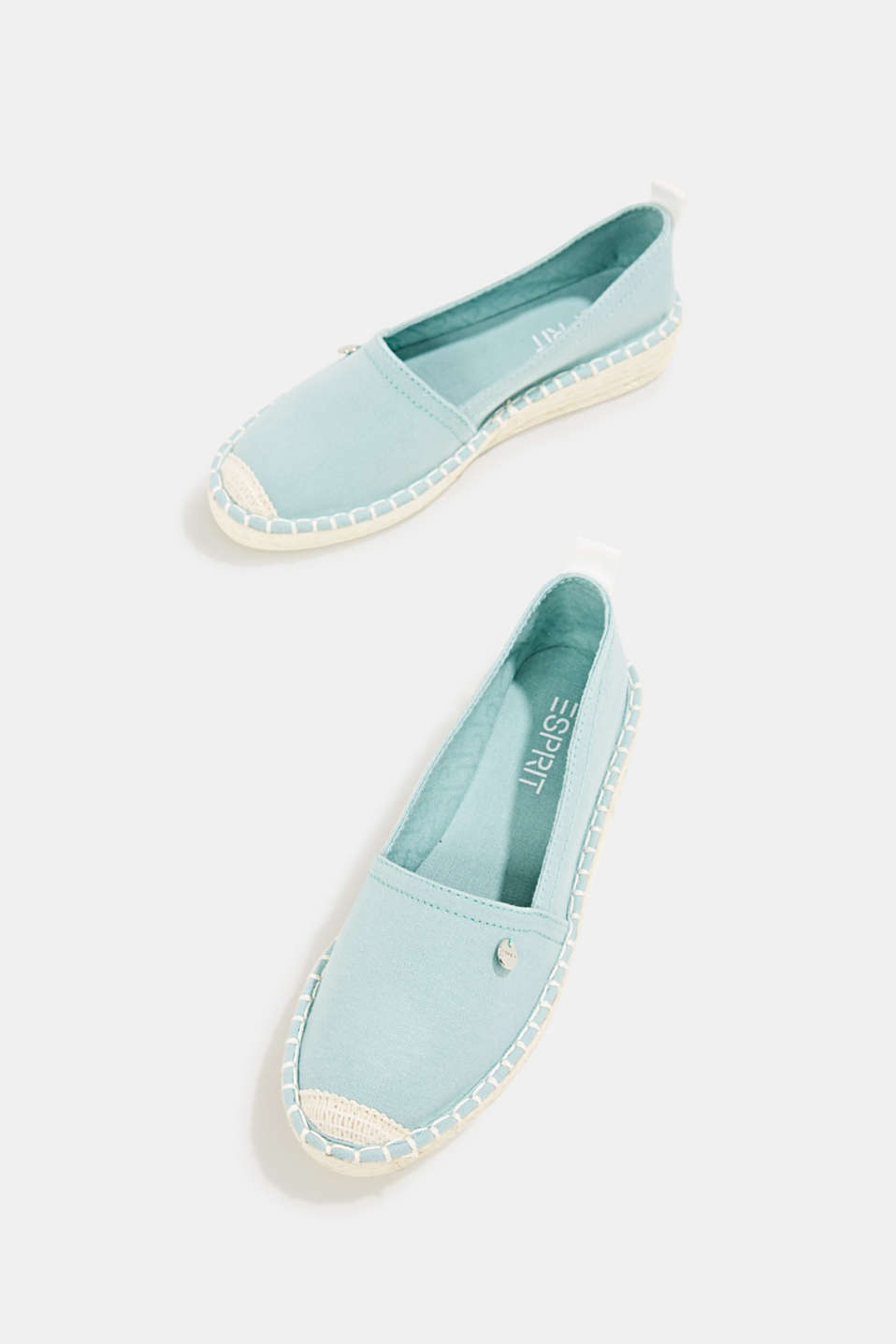 Canvas espadrilles with bast sole, LIGHT AQUA GREEN, detail image number 1