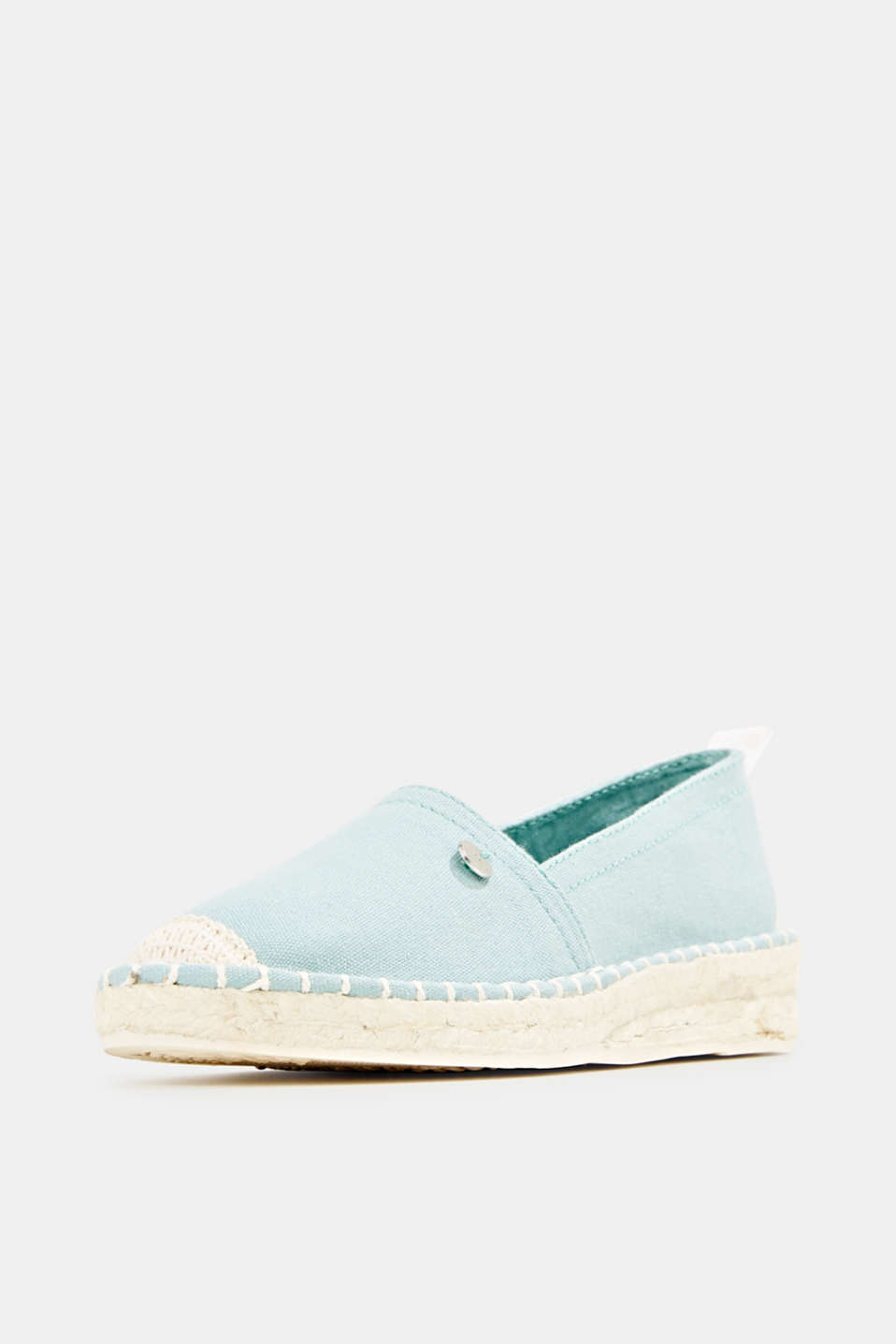 Canvas espadrilles with bast sole, LIGHT AQUA GREEN, detail image number 2