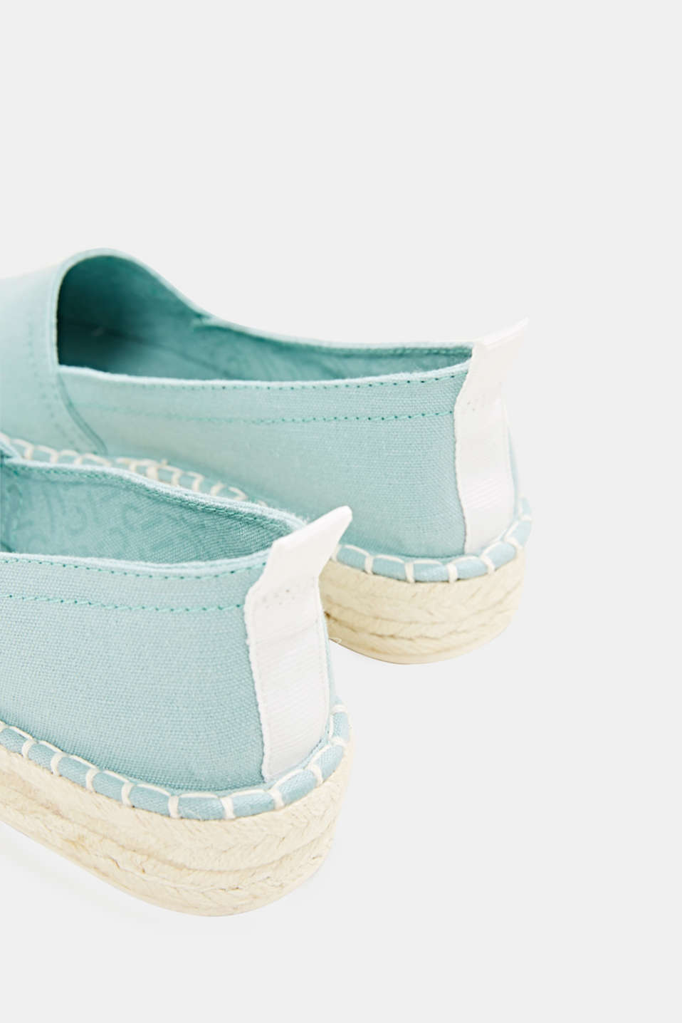Canvas espadrilles with bast sole, LIGHT AQUA GREEN, detail image number 5