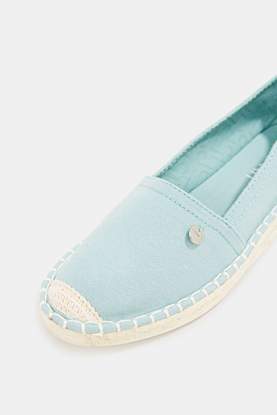 Canvas espadrilles with bast sole, LIGHT AQUA GREEN, detail image number 4