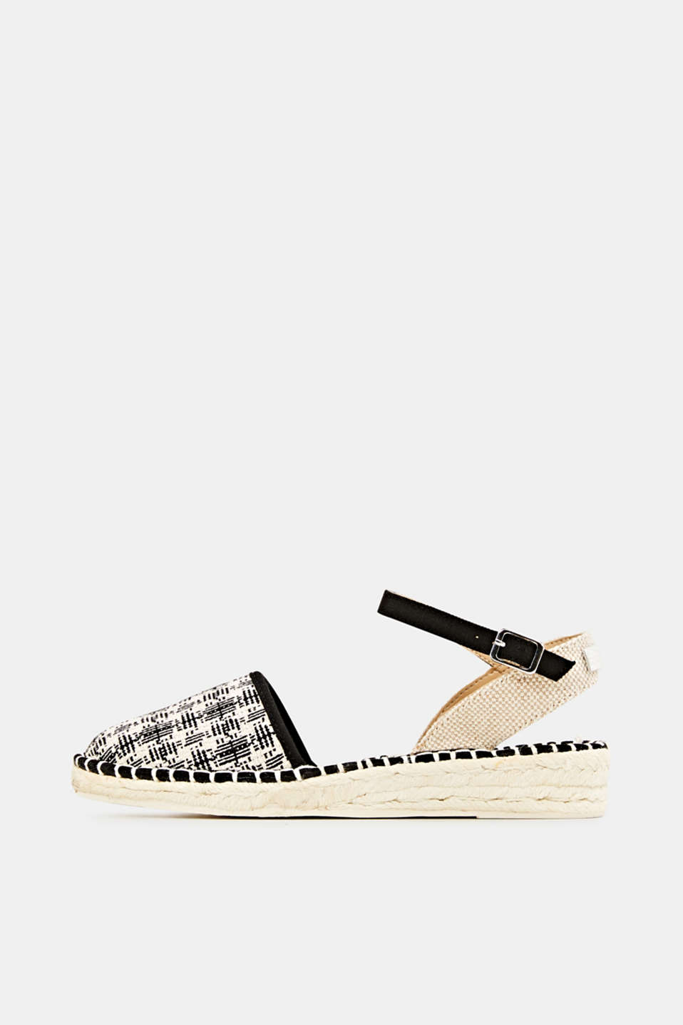 Espadrille sandals with a check pattern, BLACK, detail image number 0