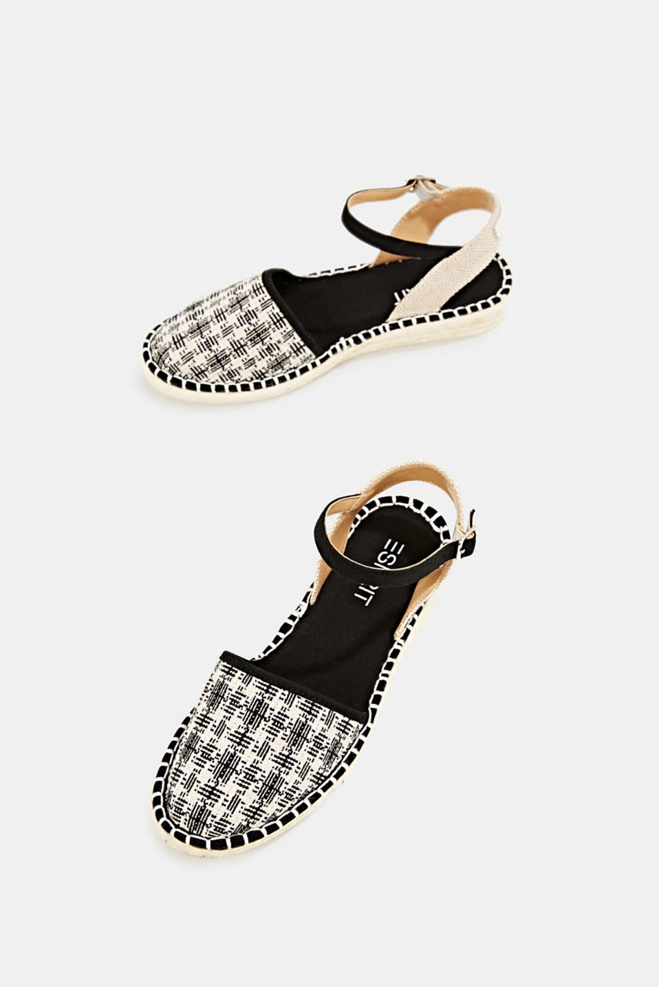 Espadrille sandals with a check pattern, BLACK, detail image number 1