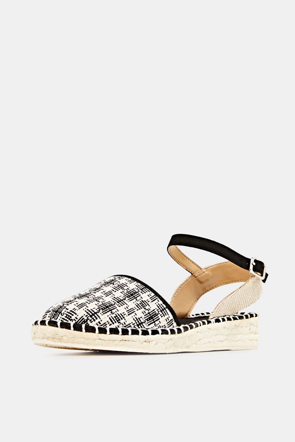 Espadrille sandals with a check pattern, BLACK, detail image number 2