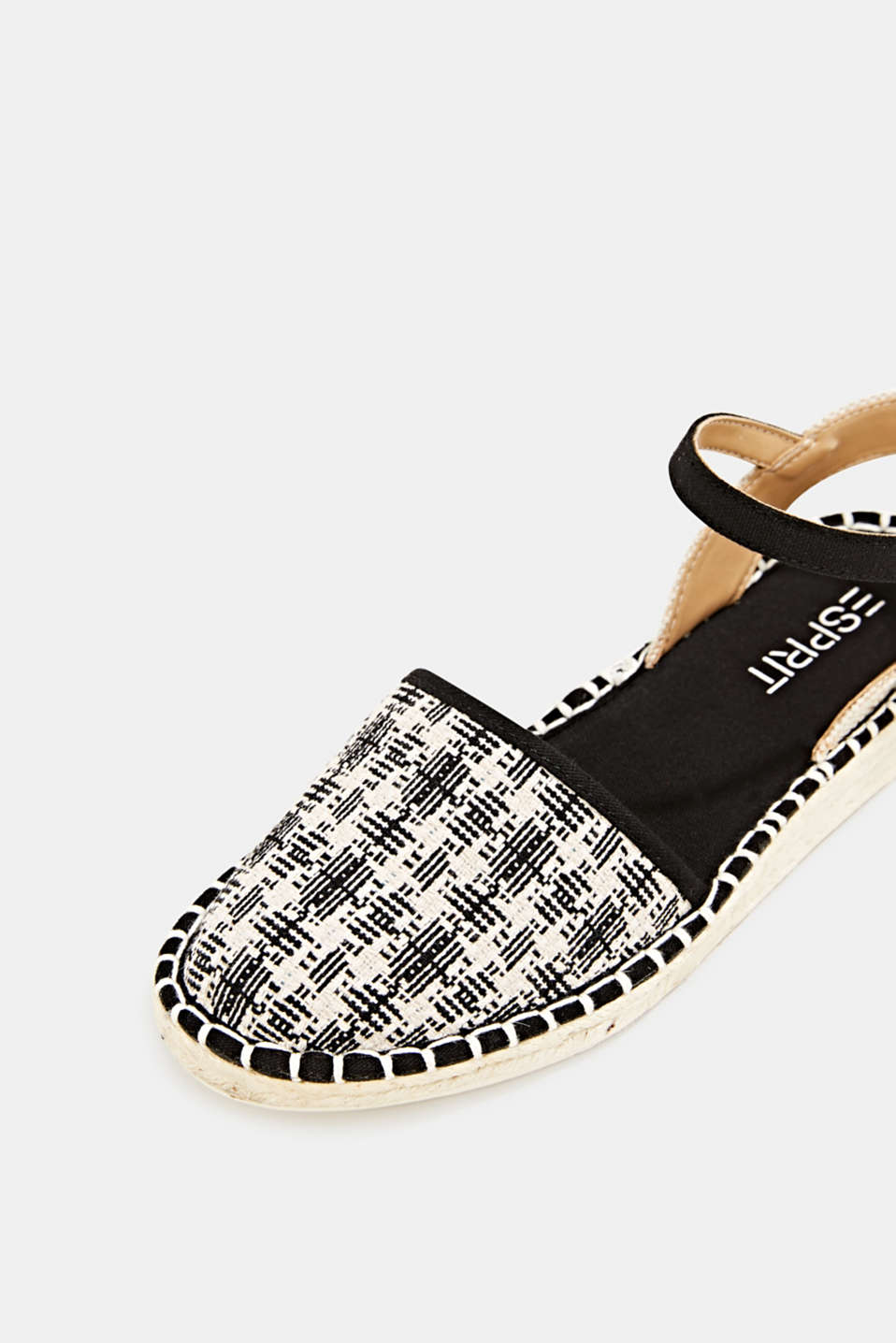 Espadrille sandals with a check pattern, BLACK, detail image number 4