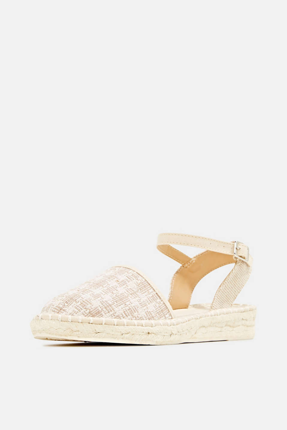 Espadrille sandals with a check pattern, BEIGE, detail image number 2