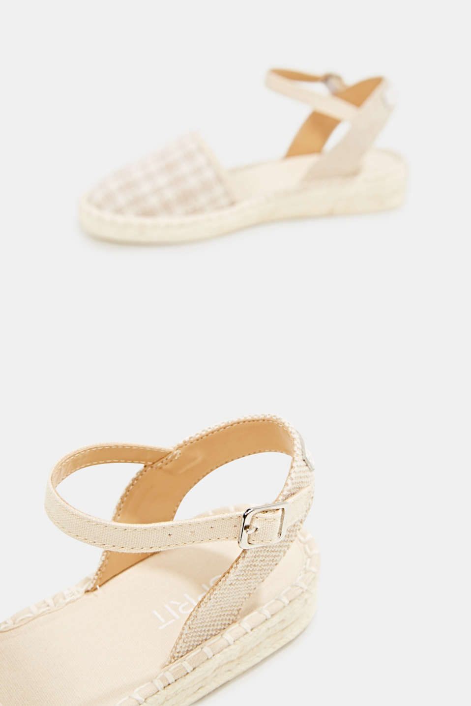Espadrille sandals with a check pattern, BEIGE, detail image number 5