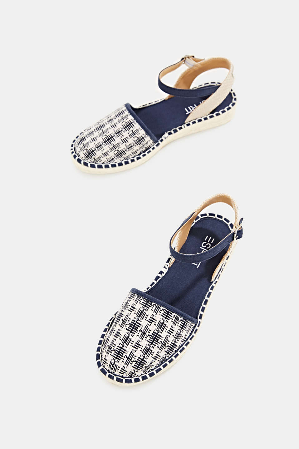 Espadrille sandals with a check pattern, NAVY, detail image number 1