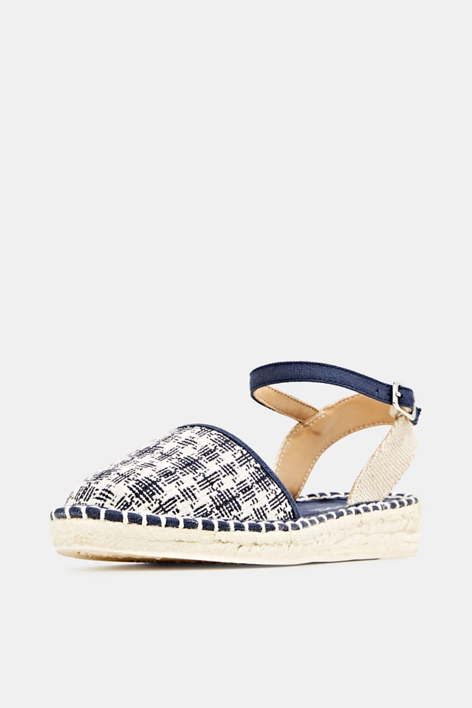 Espadrille sandals with a check pattern, NAVY, detail image number 2