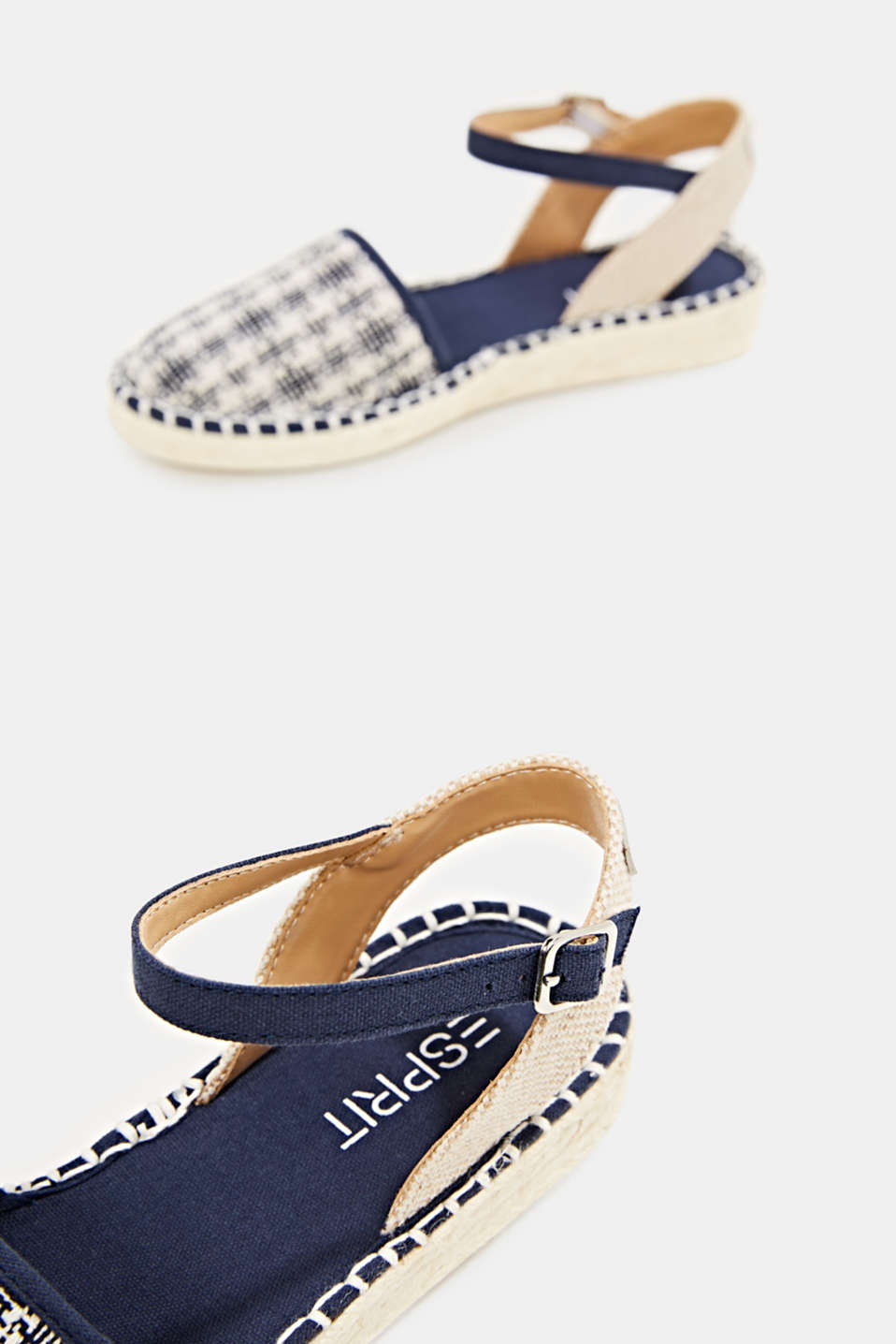 Espadrille sandals with a check pattern, NAVY, detail image number 5