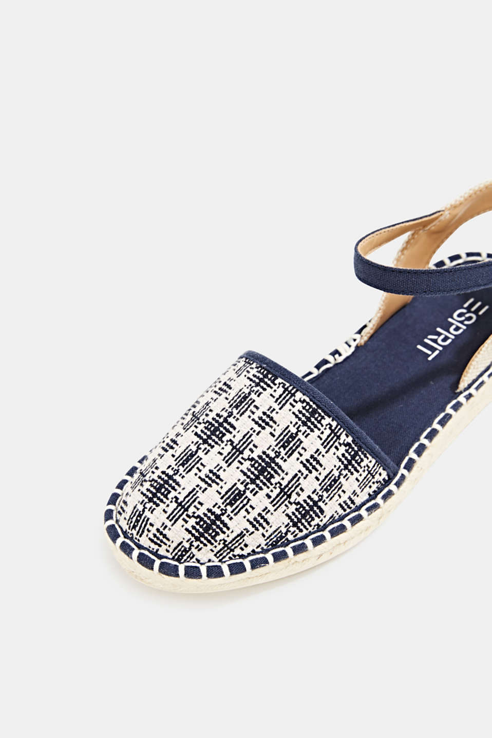 Espadrille sandals with a check pattern, NAVY, detail image number 4