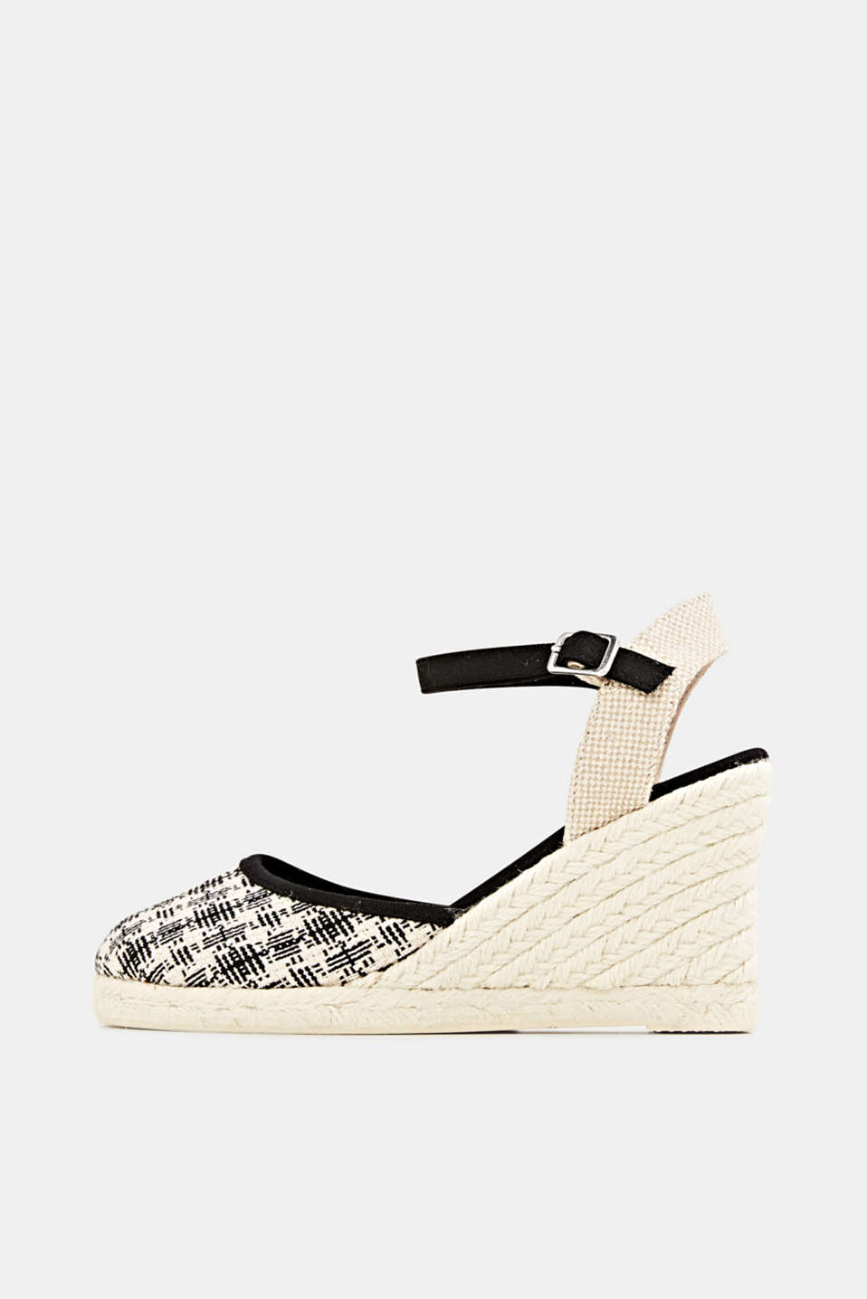 Espadrille sandals with a wedge heel, BLACK, detail image number 0