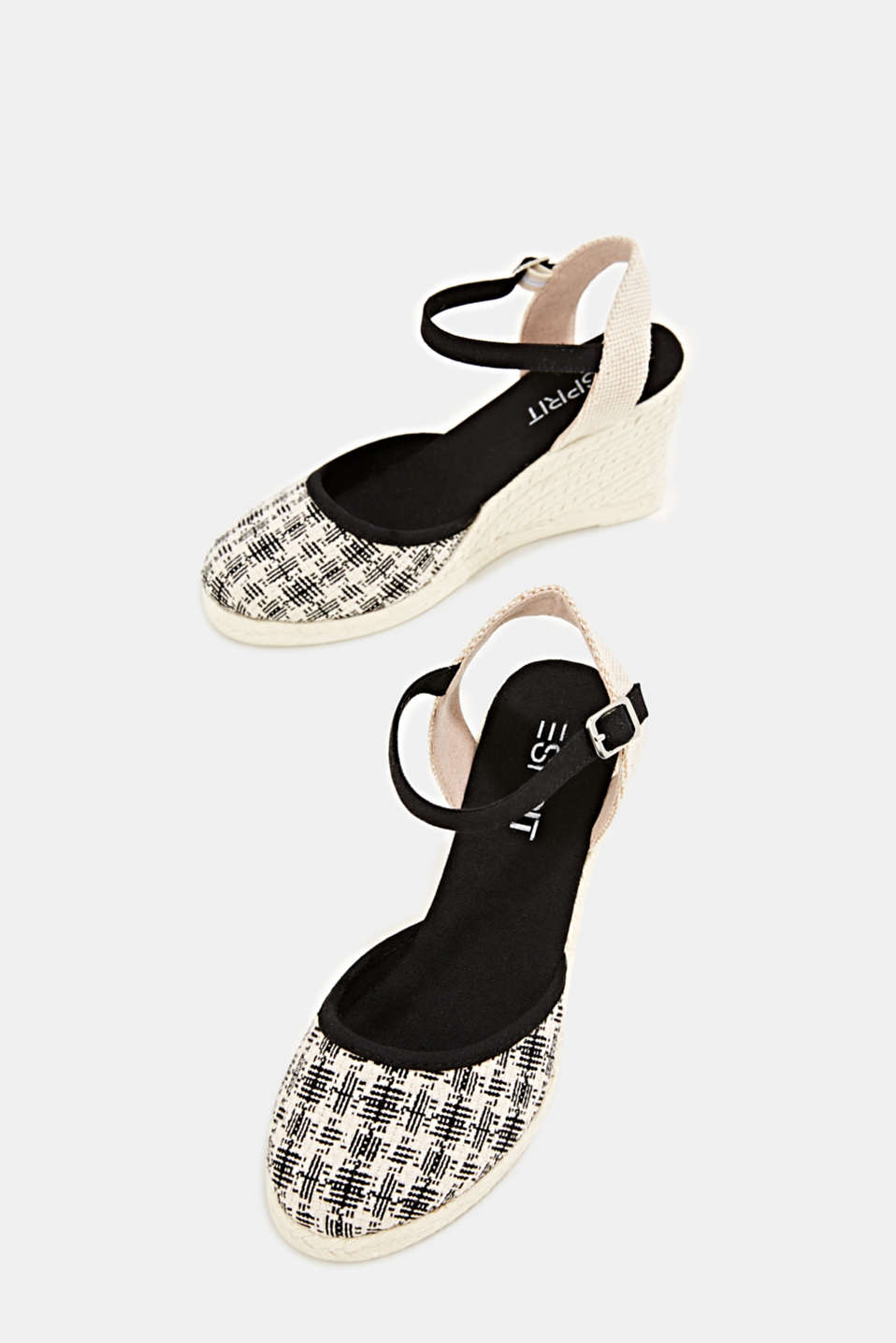 Espadrille sandals with a wedge heel, BLACK, detail image number 1