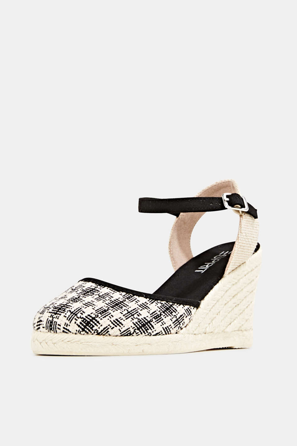 Espadrille sandals with a wedge heel, BLACK, detail image number 2