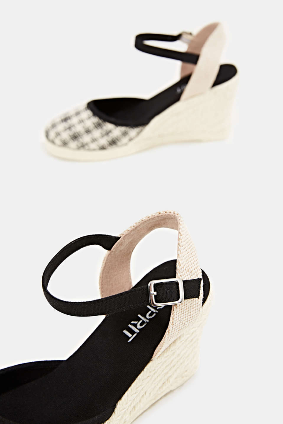 Espadrille sandals with a wedge heel, BLACK, detail image number 5