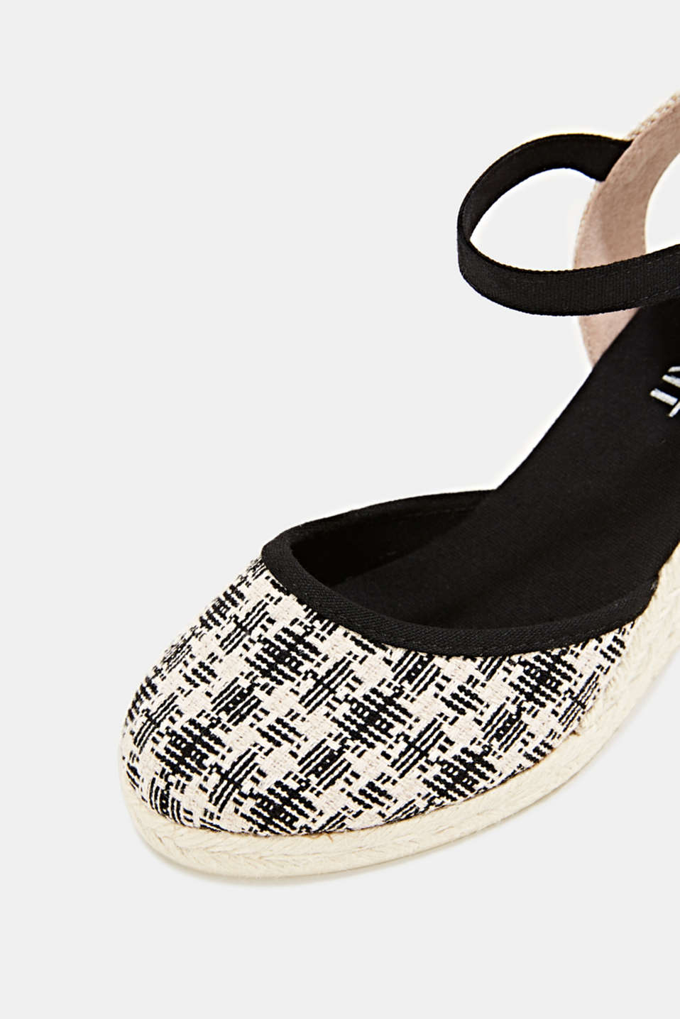Espadrille sandals with a wedge heel, BLACK, detail image number 4