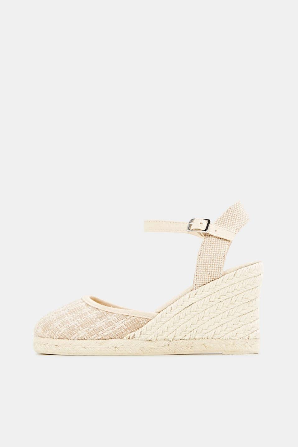 Espadrille sandals with a wedge heel, BEIGE, detail image number 0