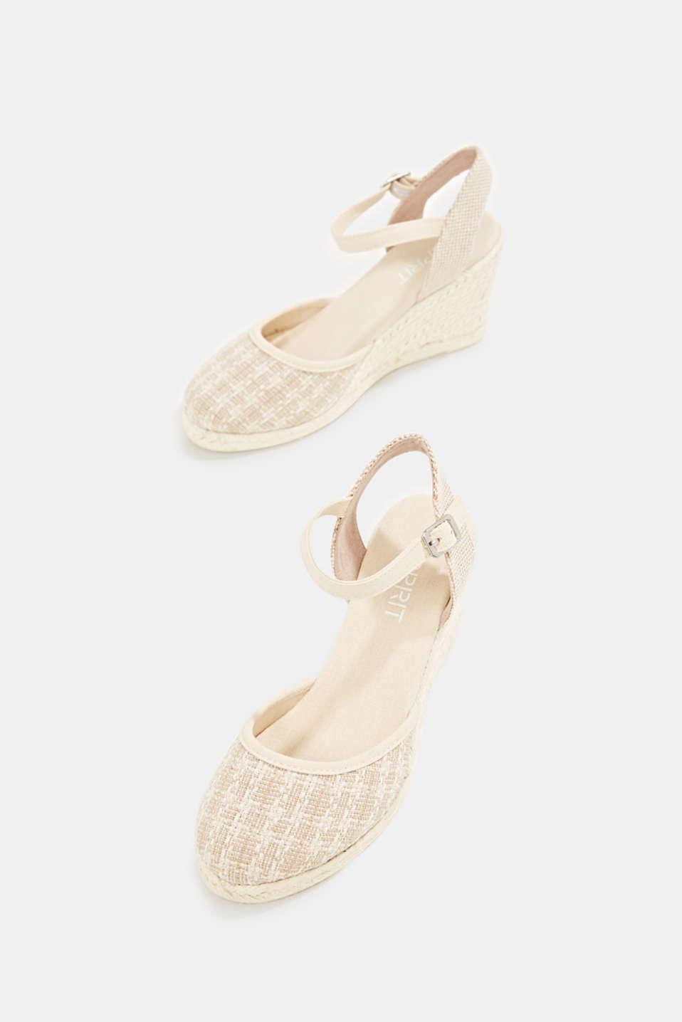 Espadrille sandals with a wedge heel, BEIGE, detail image number 1