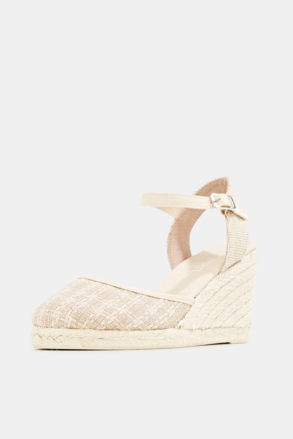 Espadrille sandals with a wedge heel, BEIGE, detail image number 2