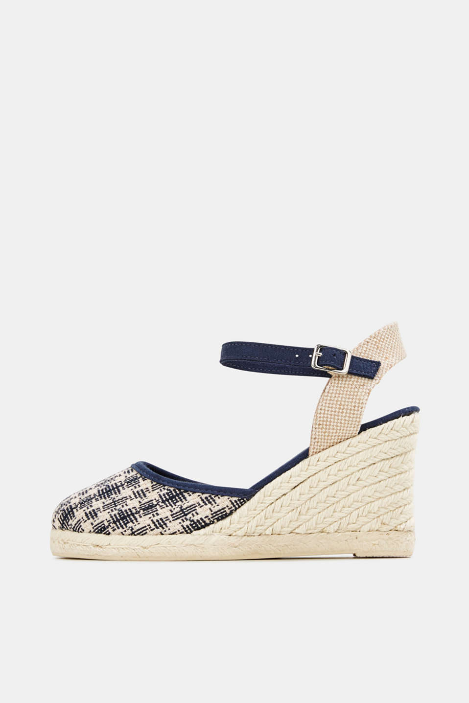 Espadrille sandals with a wedge heel, NAVY, detail image number 0