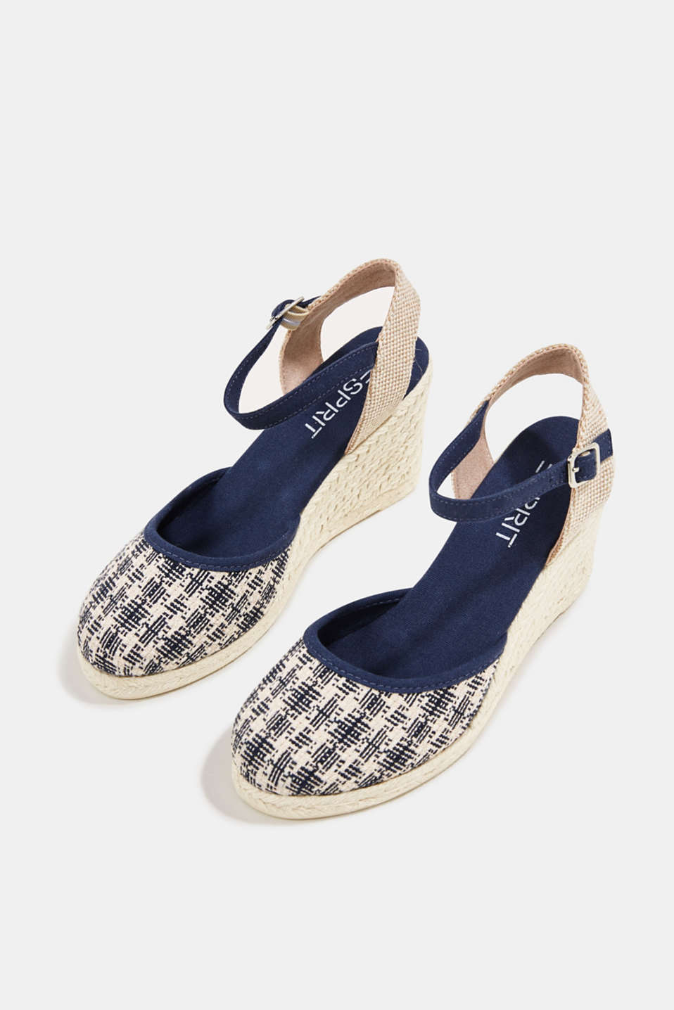 Espadrille sandals with a wedge heel, NAVY, detail image number 1
