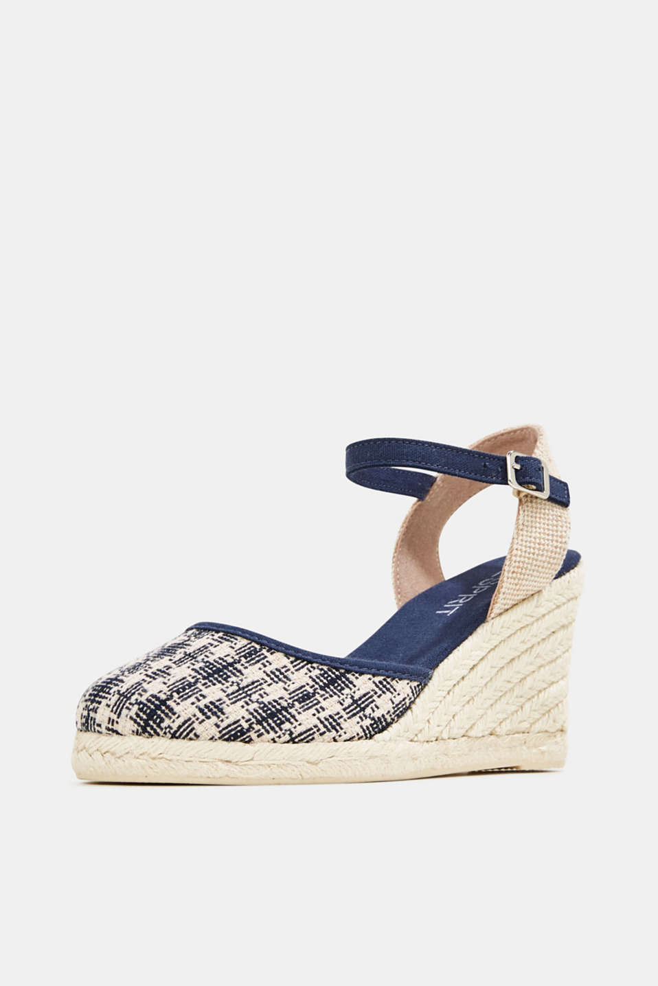 Espadrille sandals with a wedge heel, NAVY, detail image number 2