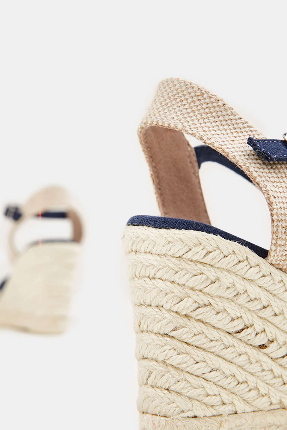Espadrille sandals with a wedge heel, NAVY, detail image number 5
