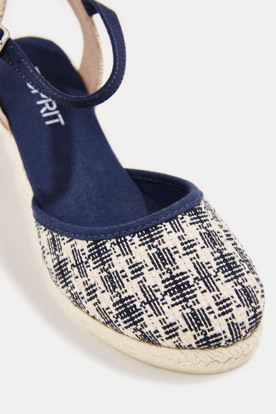 Espadrille sandals with a wedge heel, NAVY, detail image number 4
