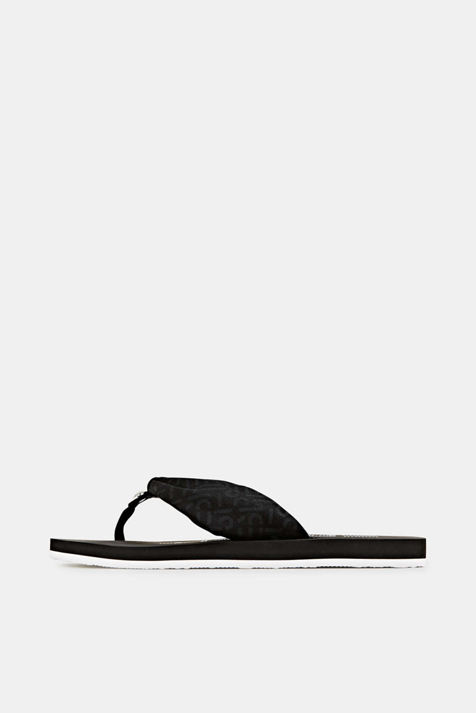 Thong sandals with logo straps, BLACK, detail image number 0