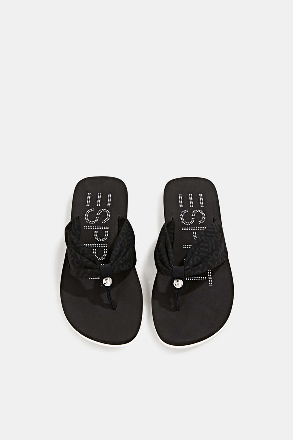 Thong sandals with logo straps, BLACK, detail image number 1