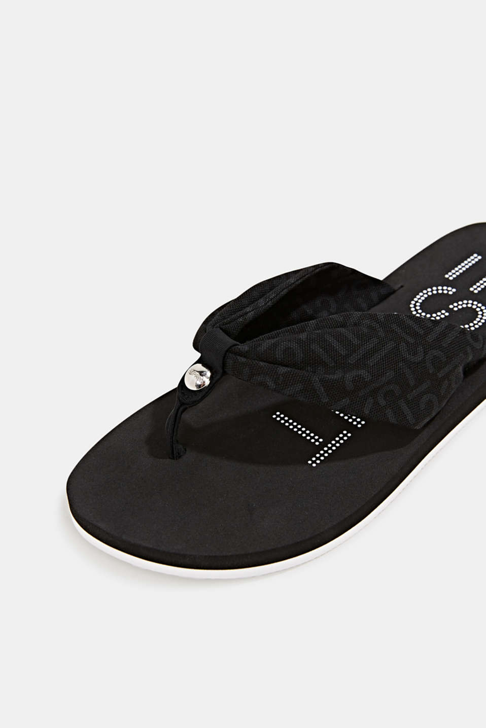 Thong sandals with logo straps, BLACK, detail image number 3