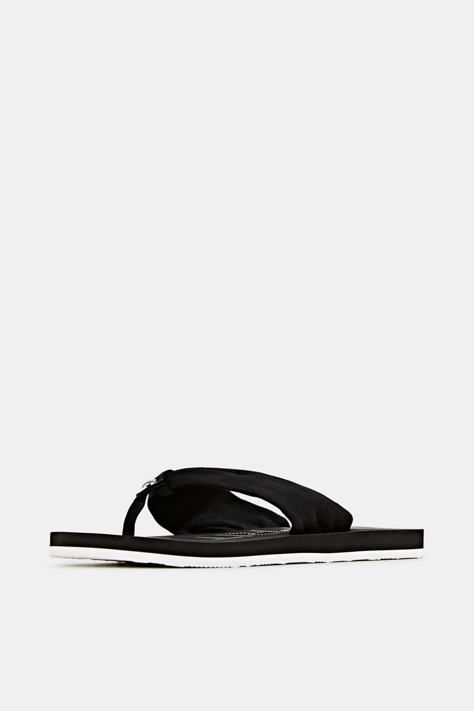 Thong sandals with 100% cotton, BLACK, detail image number 2