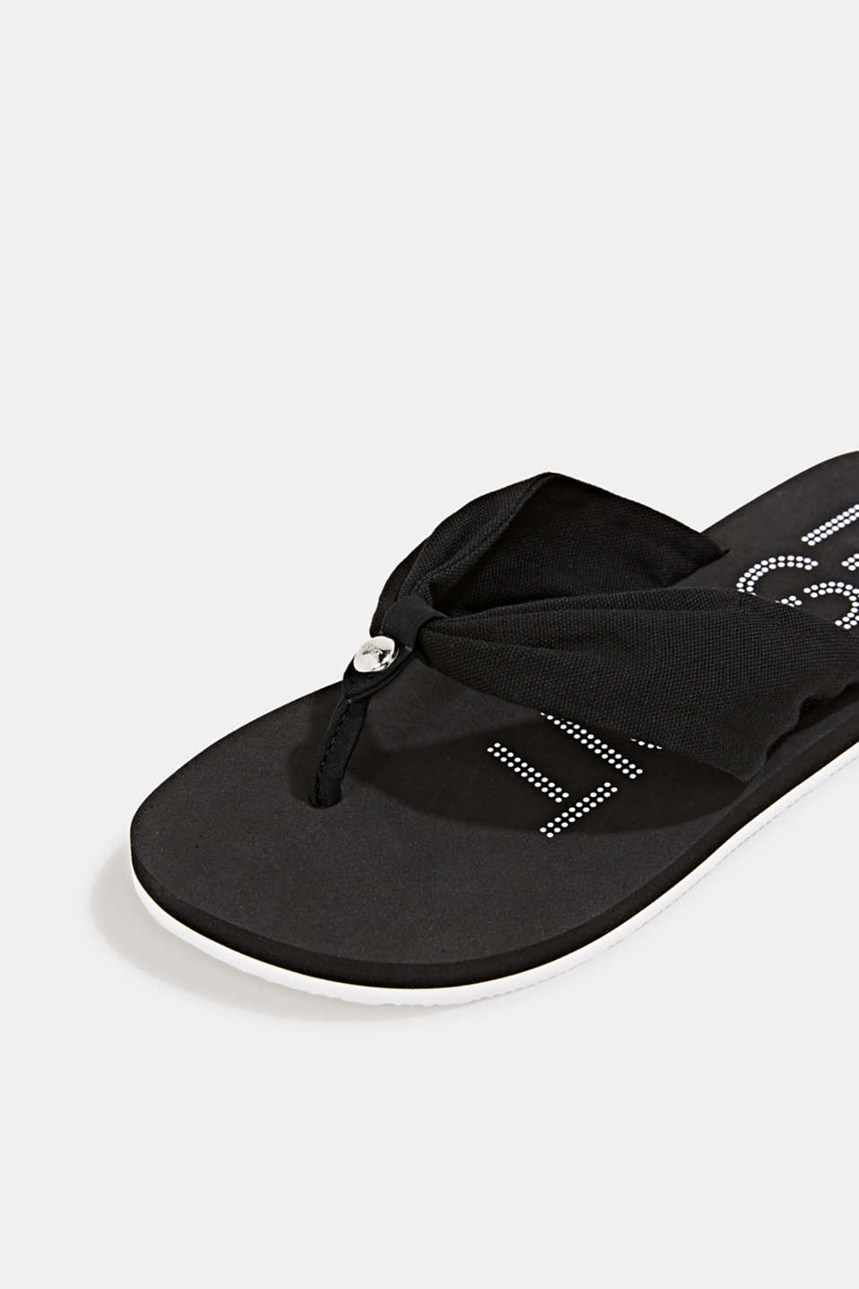 Thong sandals with 100% cotton, BLACK, detail image number 3
