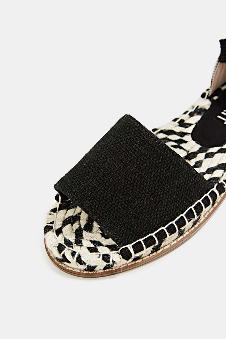 Canvas espadrilles with bast sole, BLACK, detail image number 4