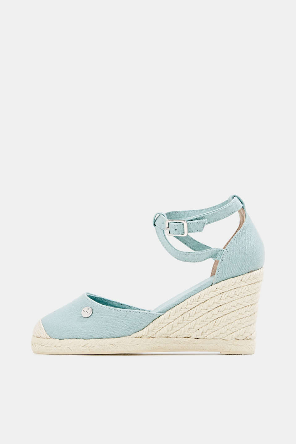 Espadrilles with a wedge heel, LIGHT AQUA GREEN, detail image number 0
