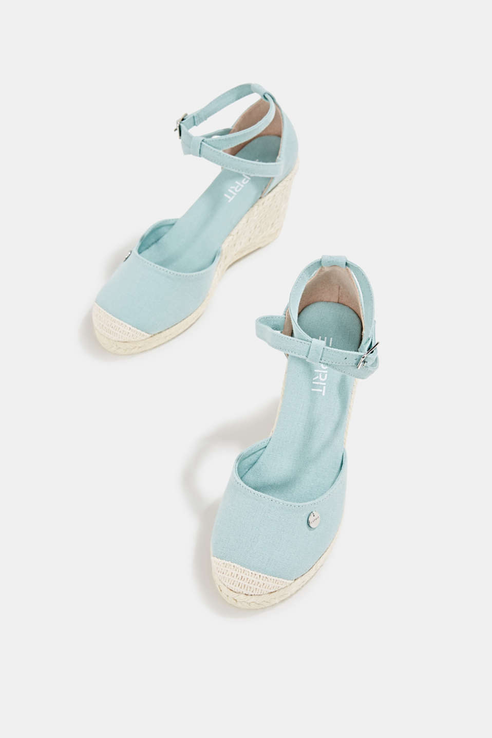 Espadrilles with a wedge heel, LIGHT AQUA GREEN, detail image number 1