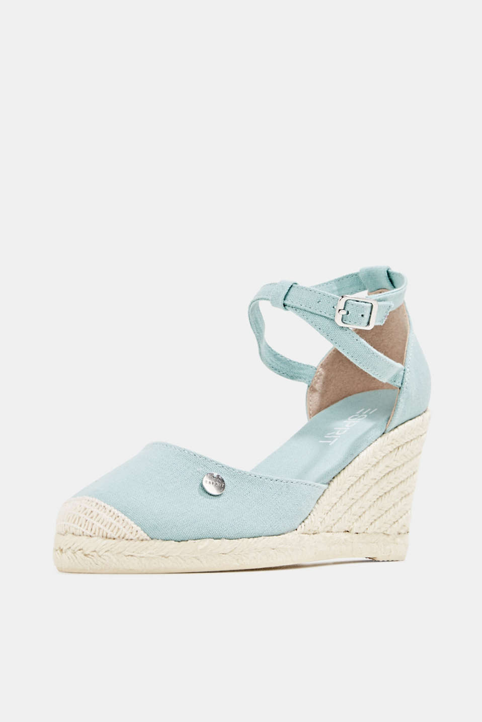 Espadrilles with a wedge heel, LIGHT AQUA GREEN, detail image number 2