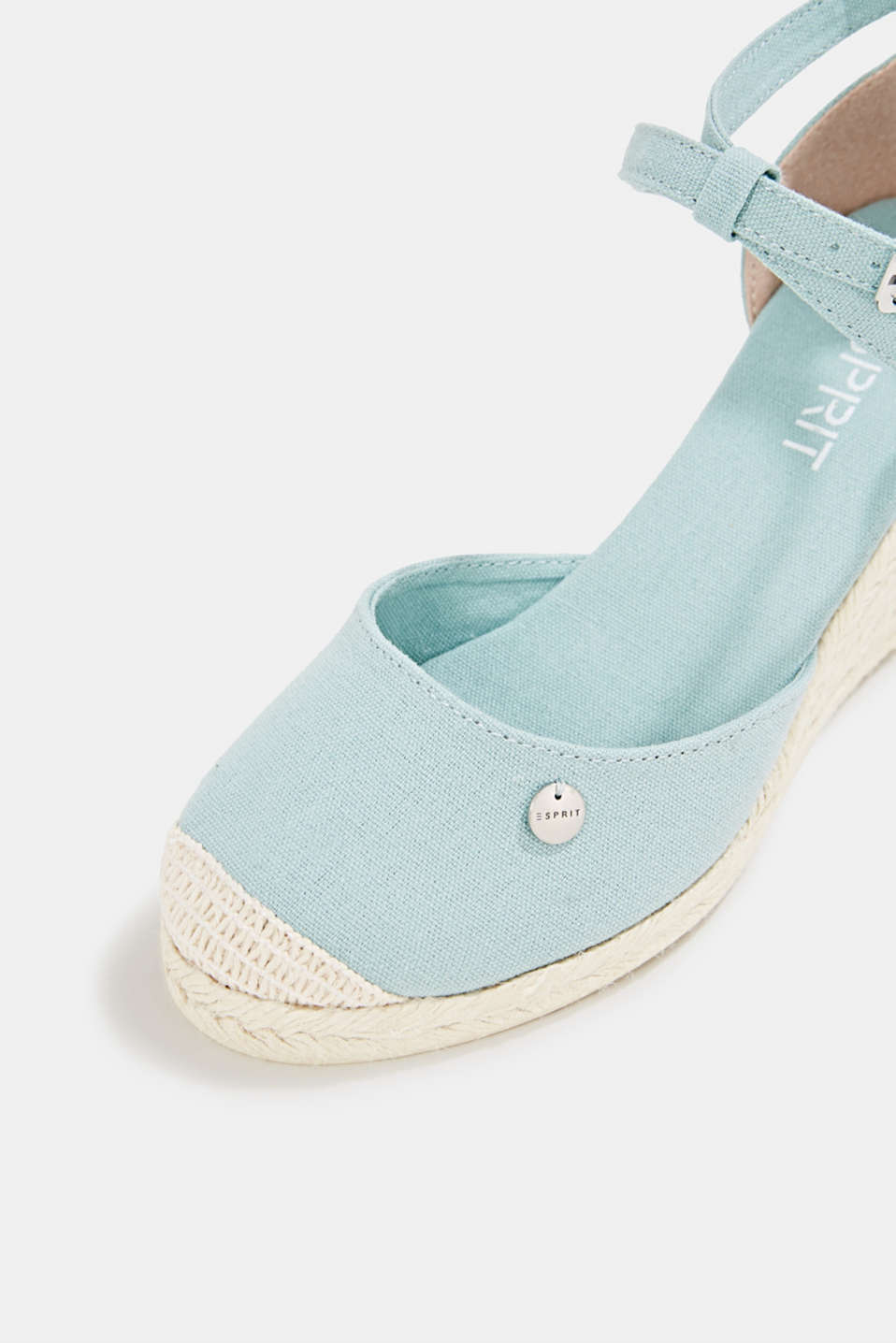 Espadrilles with a wedge heel, LIGHT AQUA GREEN, detail image number 4