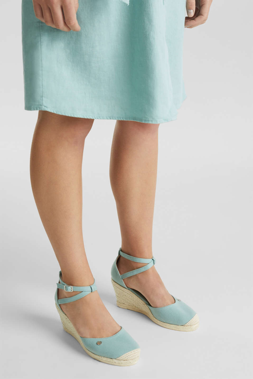 Espadrilles with a wedge heel, LIGHT AQUA GREEN, detail image number 3