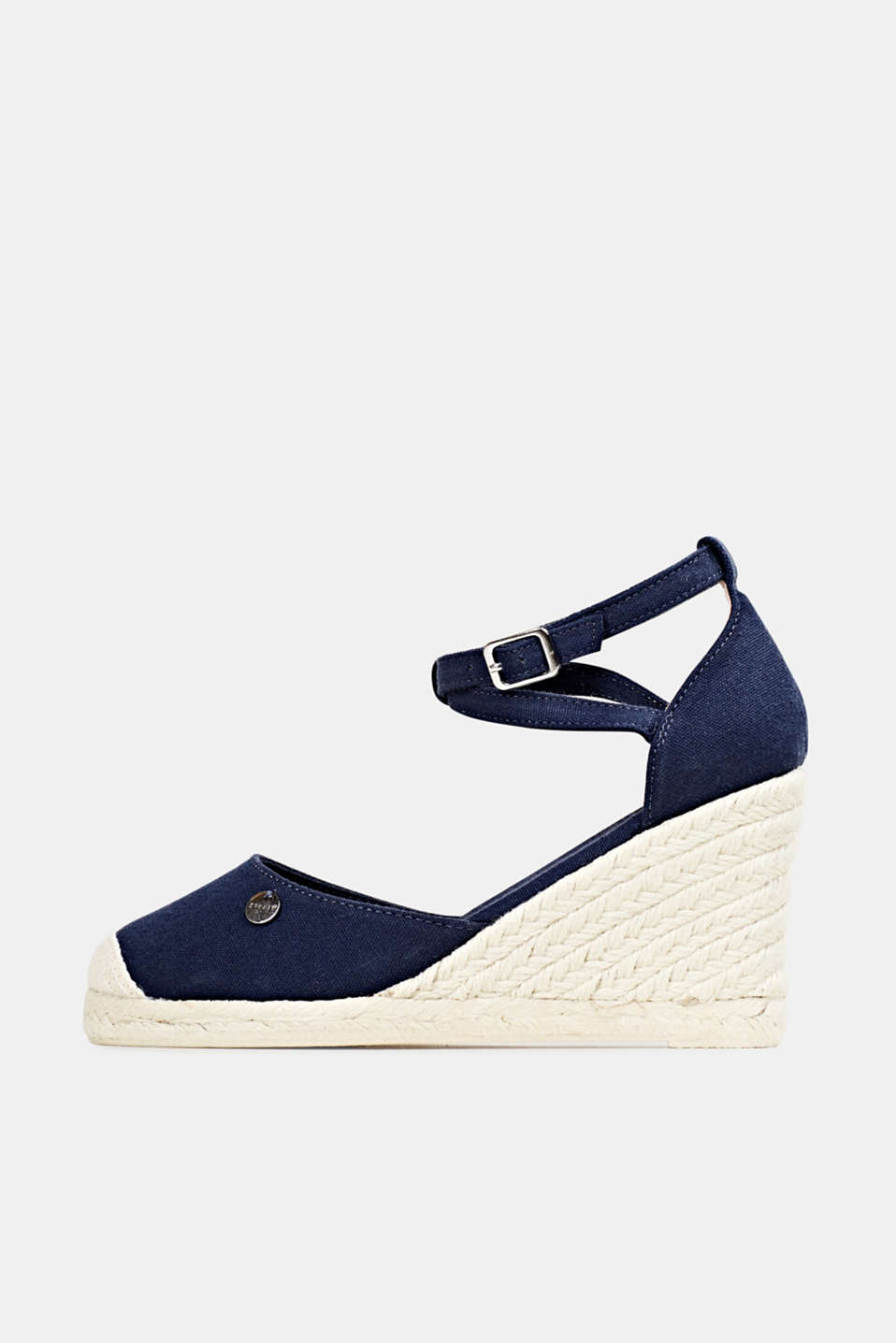 Espadrilles with a wedge heel, NAVY, detail image number 0
