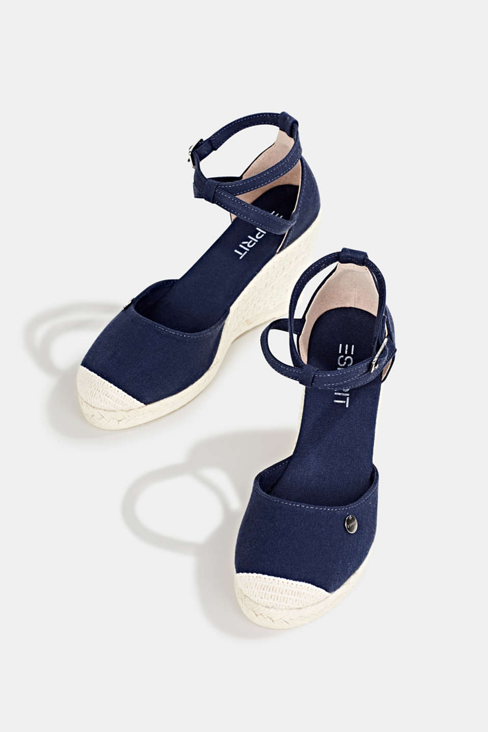 Espadrilles with a wedge heel, NAVY, detail image number 1