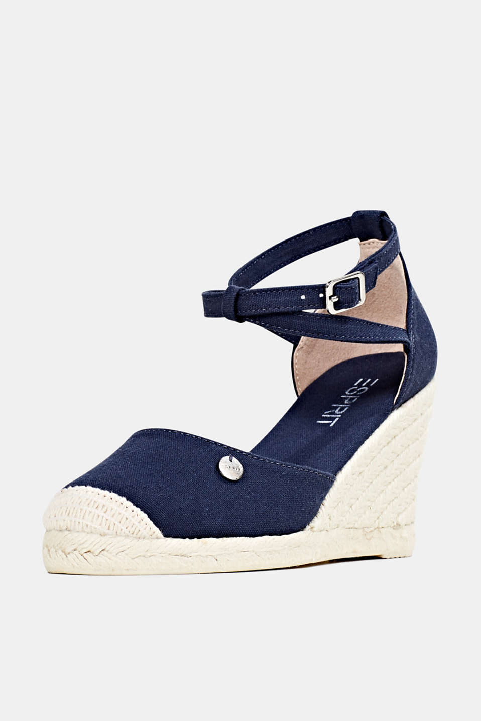 Espadrilles with a wedge heel, NAVY, detail image number 2