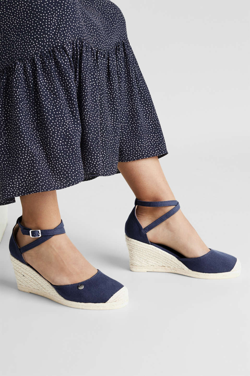Espadrilles with a wedge heel, NAVY, detail image number 3